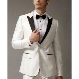 Cheap Black Suits For Men Australia - Hot Cheap Black Lapel Business Men Suits 2 Pieces Groomsman Wear Wedding Tuxedo For Men Business Suits (Jacket+Pants)