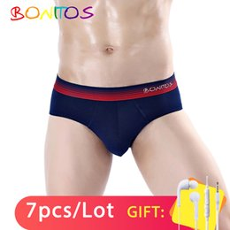 pouch for headphones UK - 7pcs Briefs Men Underwear Cotton Mens Brief Sexy Slip For Man Bikini Male Underpants Soft Bulge Pouch Gay Brand Gift-headphones CX200622