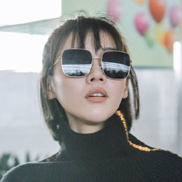 a55a6b6e069f5 Internet celebrity Square metal sunglasses fashion Polygonal Sunglasses  Trend Skinny Sun glasses