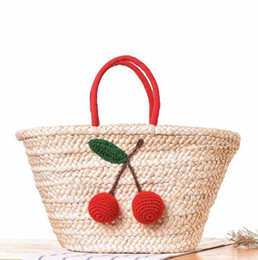 Cotton Cherry Australia - factory sales department hand woven bag forest woman handbag simple cherry hair ball portable beach bag brand of leisure vacation straw bags