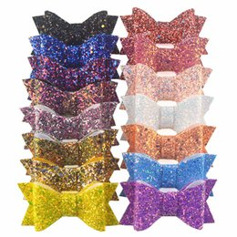 "$enCountryForm.capitalKeyWord Australia - 60pc lot 3.5 "" Fashion Glitter Hair Bow For Children Girls Headwear Kids Handmade Boutique Bling Bows Diy Hair Accessories"