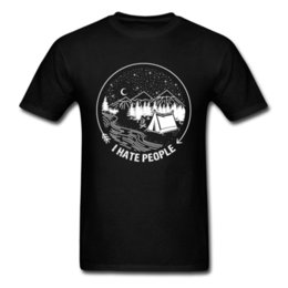 Discount oversized tees mens - I Hate People T-shirt For Man Funny Campers T Shirt Mens Black Tshirt Simple Style Holiday Clothes Cotton Tops Tees Over