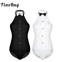 Wholesale backless collared shirt resale online - TiaoBug Women One piece Sleeveless Halter Wing Tip Collar Backless Tuxedo Shirt Bodysuit with Bow Tie Ladies Party Sexy Jumpsuit