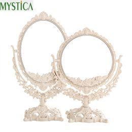 NEW360 Rotating Women Makeup Mirror Vintage Floral Oval Round Handhold Mirror Princess Elegant Makeup Beauty espelho de maquiage Y200114 on Sale