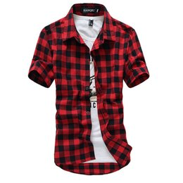 Wholesale Mens Linen Shirts UK - Red Black Plaid 2019 New Summer Fashion Chemise Homme Mens Checkered Shirts Short Sleeve Shirt Men Blouse C19041701