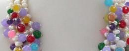 "$enCountryForm.capitalKeyWord Australia - necklace 4row 20""white rice freshwater pearl multicolor jade bead necklace"