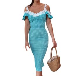 Wholesale Butterfly Sleeve Polka Dot Vintage Dress Party Elegant Women Dress Holiday Bodycon Sexy Off Shoulder Crochet Midi Sundress GV299