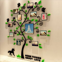 Decorative pictures for beDrooms online shopping - 3 Size Colorful Picture Frame Tree D Acrylic Wall Sticker DIY Art Wall Poster Home Decorative Bedroom Bathroom Wall Stickers