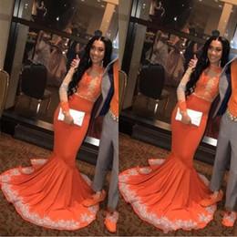 Sexy africano nero arabo ragazze sirena arancione prom dresses 2019 manica lunga pizzo applieque plus size coppia plus size abiti da sera BC0902