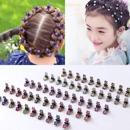 $enCountryForm.capitalKeyWord Australia - 12PCS Girls Small Crystal Flowers Metal Hair Claws Children Mini Rhinestone Hair Clamp Kids Hair Oranment Clips Baby Hairpins