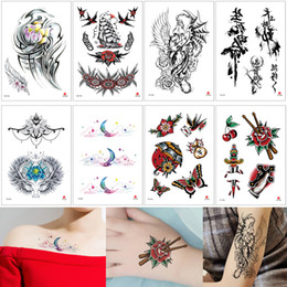 tattoos crosses Canada - Fake Tattoo Waterproof Temporary Body Art Sticker Cool Totem Skull Lotus Flower Cross Moon Design Durable Non-toxic Tattoo for Woman Man Kid