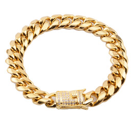 $enCountryForm.capitalKeyWord Australia - wholesale Hop Jewelry High Quality Silve Stainless Steel Jewelry Cuban Link Bracelet 12MM Wide Plain Box Lock Miami Bracelet