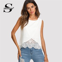 Wrap Toppings NZ - Sheinside Lace Insert Wrap Front Top Women White Round Neck Wrap Plain Vest Summer Regular Fit Sleeveless Casual Tank Y19042801