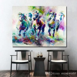 $enCountryForm.capitalKeyWord NZ - Colorful Abstract Horses Hand Painted Modern Home Decor Abstract Animal Wall Art Oil Painting On Canvas.Multi sizes  Frame Options al-Dafe