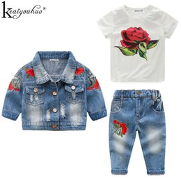 Kids Suits For Girls Australia - High Quality Autumn Winter Denim Girls Outfit Suits Costume For Kids Clothes 3pcs Children Clothing Sets Q190523