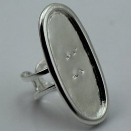 Beadsnice Anello con castone grande con base ad anello per creazione di gioielli Bronzo antico regolabile forma ovale Senza piombo Nichel ID 1875 in Offerta
