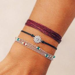 $enCountryForm.capitalKeyWord Australia - 2019 New Arrival Bohemian Style Rope Star Disc Bead Chain Bracelet Bangles Three-piece Set for Women B3196