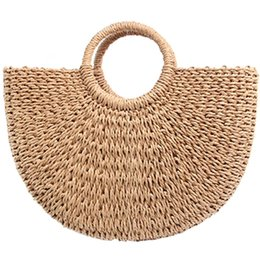 round hand bag 2019 - New Half Moon Braided Bag Straw Round Bucket Bag Retro Casual Hand cheap round hand bag