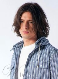 $enCountryForm.capitalKeyWord Australia - Hot Sexy Man Hairstyle Medium Straight Brown Wig 100% Human Hair