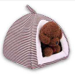 $enCountryForm.capitalKeyWord Australia - Foldable Pets Bed Stripe Dog House Puppy Teddy Mongolian Yurts Cats Tents Kennel Nest For Small Medium Sleeping Bag Pet Supplies