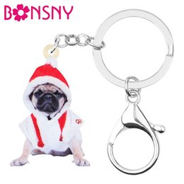 Hat keycHains online shopping - Acrylic Christmas Hat Costume Pug Dog Key Chains Key Ring Car Purse Bag Keychains For Women Girl Lady Men Decoration Gift