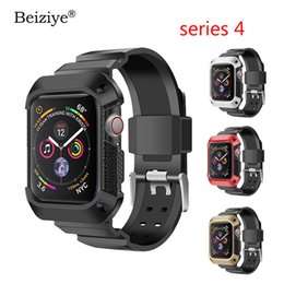 apple watch sport case NZ - Beiziye Sport band for apple watch 44mm 40mm bracelet Silicone sports watchband with Protective case for iwatch series 4 bands