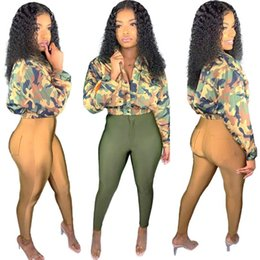 camouflage jacket pants set Canada - Women fall winter Tracksuit camouflage print 2 piece set long sleeve jacket bodycon pants zipper leggings suit casual jogger suit 2023