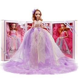 "girls toys big doll NZ - 16"" 40cm Princess Dolls Wedding dress baby doll children Girl Toy Gift ornament Color Box key holder fashion big billowing skirt hemline"