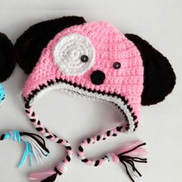 crochet baby puppy hats Australia - Knit Baby Pink Puppy Hat,Handmade Crochet Baby Girl Boy Dog Animal Hat,Winter Earflap Cap,Infant Toddler Photo Prop Shower Gift