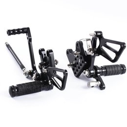 Discount motorcycle rear foot pegs - For SV650 SV650S 1998-2014 GSXR1000 GSXR 1000 2001-04 Motorcycle Adjustable Rearsets Rear Sets Foot Pegs Pedal Foot Rest