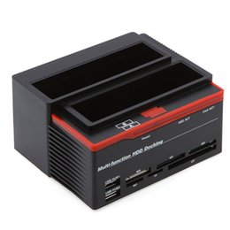 "sata hdd dock station UK - All In 1 HDD Docking Station External HDD Box 2.5"" 3.5"" IDE Two SATA USB2.0 Card Reader External Storage Enclosure"
