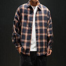 Wholesale plus size flannel shirts for sale – plus size modis mens plaid flannel shirts hip hop men shirt long sleeve streetwear coat loose casual shirt XL plus size hombre clothing