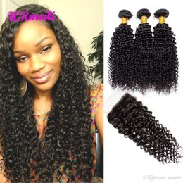 $enCountryForm.capitalKeyWord NZ - Curly Hair Bundles With Closure Mongolian Kinky Curly Unprocessed Virgin Hair With Closure DHgate Remy Human Hair Bundles With Lace Closure