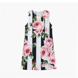 $enCountryForm.capitalKeyWord UK - 2019 Girls Clothes Spring New Black and White Striped Rose Princess Dress Baby Girls skirt Children Dresses Clothes