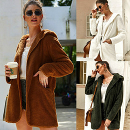 Wholesale gradient faux fur coat for sale – winter Womens Winter Warm Hoodied Coats Plush Long Sleeve Pocket Cardigan Hoodied Casual Solid Color Loose Coats