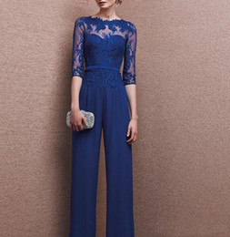 Chinese  2019 Gorgeous Royal Blue Plus Size Mother Of Bride 3 4 Lace Long Sleeve Custom Made Mother Jumpsuit Chiffon Cocktail Party Evening Dresses manufacturers