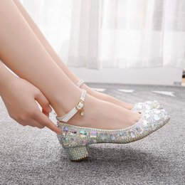 low heel evening shoes rhinestones Australia - Crystal Shoes Cinderella Women Heels Evening Glittering Round Toe Custom Rhinestone Wedding shoes Pumps Size 9