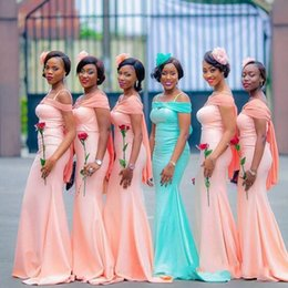 Red wateR melon dRess online shopping - New Arrival Nigeria African Girls Bridesmaid Dresses Mermaid Spaghetti Strap With Wrap Floor Length Wedding Guest Gowns