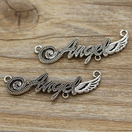Words Connectors Australia - Angel Charms Connectors Link Fairy Wing Word Charm 100pcs lot Antique Silver Tone 43x13 bs0016