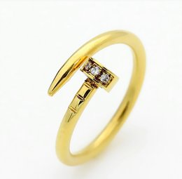 engagement couple ring gold diamond 2019 - Top Quality Stainless Steel Gold silver rose gold Nail ring with diamonds lovers Band Rings for Women and Men Couple rin