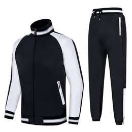 Wholesale Mens Luxury Designer Clothes Length Sleeve Embroidery Black White Double Color Stitching Panelled Men Tracksuit