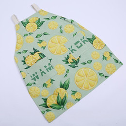 $enCountryForm.capitalKeyWord Australia - Fashion Aprons Cooking Apron Kit Bib Green Leaves and Orange Pattern Housework Kitchen Sleeveless Aprons For Women And Men