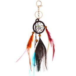 $enCountryForm.capitalKeyWord UK - Hand-knit Ethnic Wind Handmade Dream Catcher Keychain Car Wall Gift Keychain Dream Catcher Jewelry