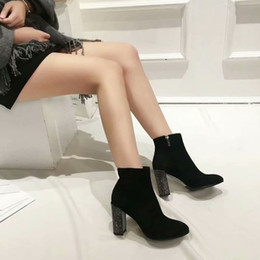 $enCountryForm.capitalKeyWord NZ - 2019 new fashion matte leather ankle boots women's thick with Martin boots suede fashion with black plus velvet high heel women's shoes d3