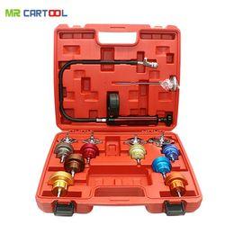 Coolant Engine Australia - Universal Automotive Radiator Pressure Tester Kit 14PCS Car Leak Detector tool Auto Cooling System Coolant Vacuum Purge full set