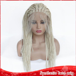 Discount hair braid blonde - Hot Fashion #613 Blonde Braid Wig Synthetic Lace Front Wigs with Baby Hair Heat Resistant Fiber Braided Box Braids Wigs