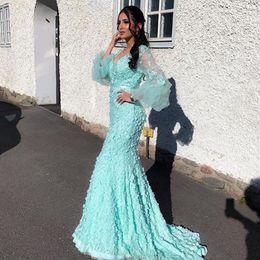 $enCountryForm.capitalKeyWord Australia - Pretty 3D Flower Mermaid Prom Gowns 2019 See Thru Puff Full Sleeves Custom Made Long Floral Formal Evening Gowns