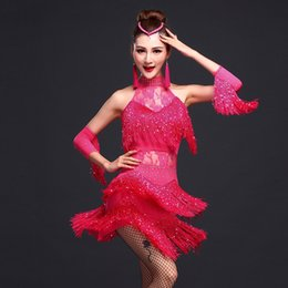 $enCountryForm.capitalKeyWord Australia - New Adult Latin Dance Costumes Fringe Women Latin Tassel Dress Sexy Tango Dresses Female Performance Ballroom Dance Wear