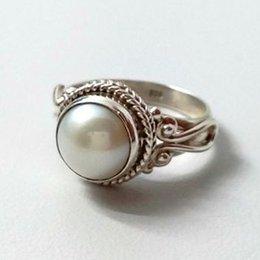 $enCountryForm.capitalKeyWord Australia - Vintage Pearl Ring Antique Silver Pattern Rings For Women Wedding Engagement Luxury Ring Femme Mujero5t594