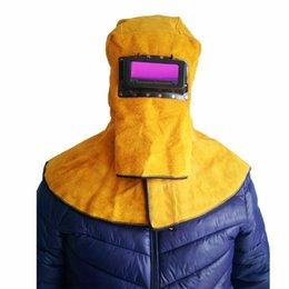 Großhandel Freeshipping Kopfbedeckungen Schal Leder Schweißhelm Schutzmaske Flip Isolierung Splash Prevention Hohe Widerstandstemperatur